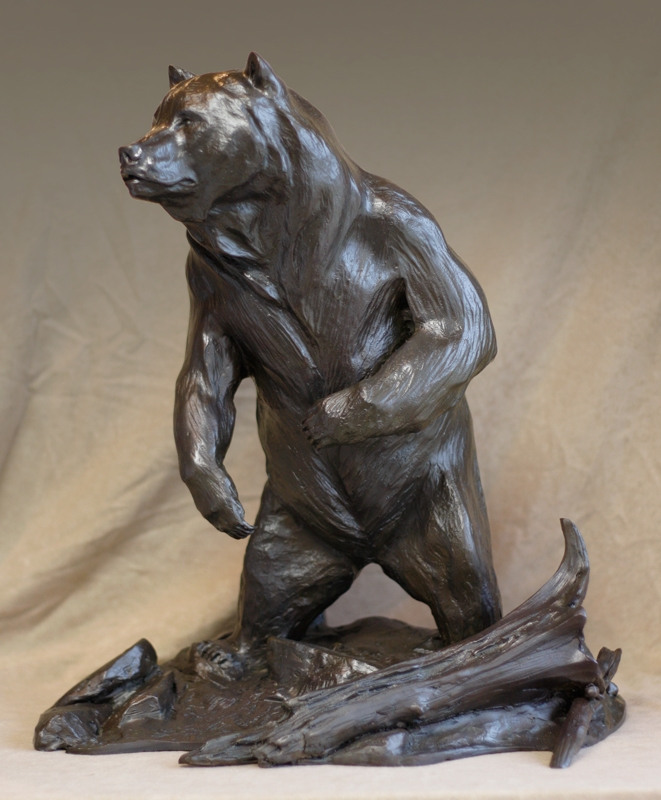 Bronze Grizzly Bear Sculpture by Aaron Yount
